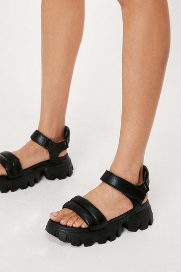 Black Faux Leather Padded Sporty Chunky Sandals
