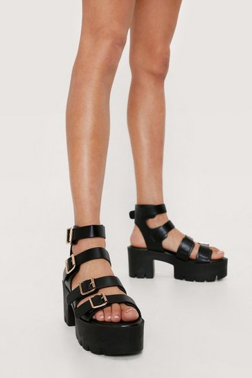 Black Faux Leather Multi Buckle Chunky Sandals