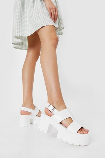 White Chunky Faux Leather Croc Cut Out Sandals