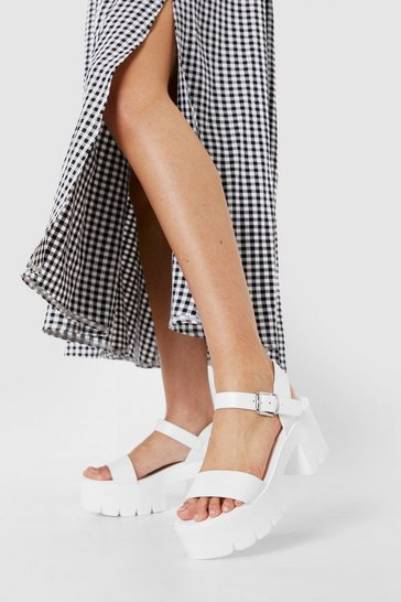 White Faux Leather Cleated Heeled Sandals