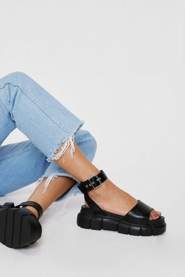 Black Faux Leather Cleated Open Toe Sandals