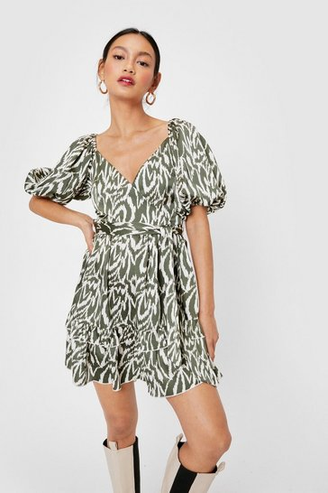 Dark green Stay Wild Petite Puff Sleeve Mini Dress