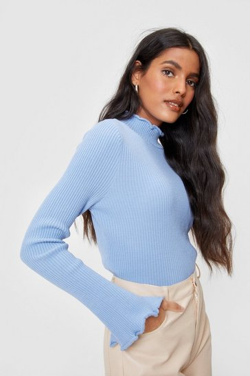 Light blue We Frill be Waitin' Ribbed High Neck Top