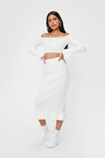 White Knitted Off the Shoulder Top and Midi Skirt Set