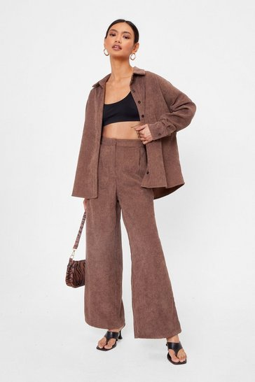 Chocolate Petite Corduroy Wide Leg Pants
