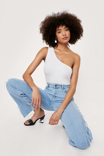 White One Shoulder Ribbed Knit High Leg Bodysuit