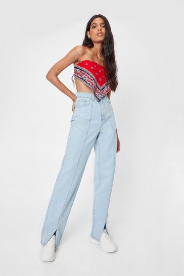 Bleach wash Seam Detail High Waisted Slit Mom Jeans