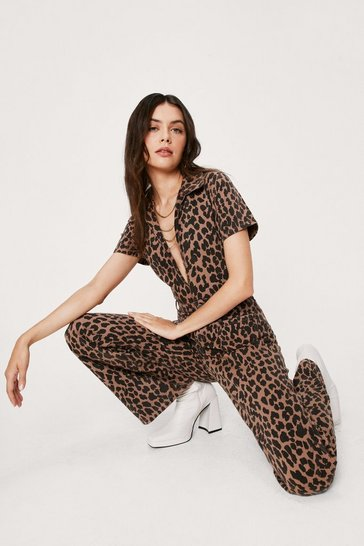 Chocolate Denim Leopard Print V Neck Jumpsuit