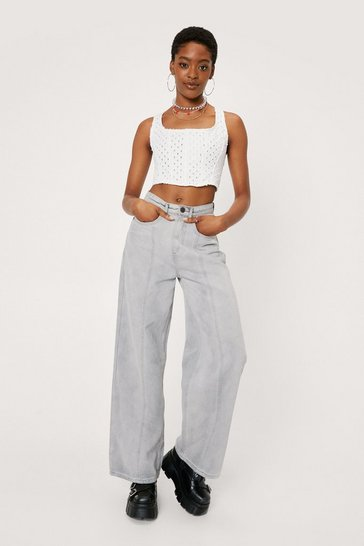 Pale grey Spliced Seam Detail Wide Leg Jeans