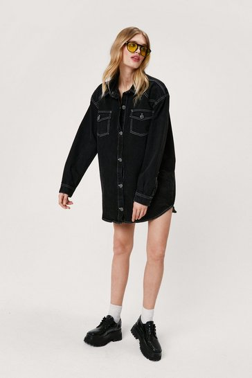 Black Contrast Stitch Denim Shirt Mini Dress