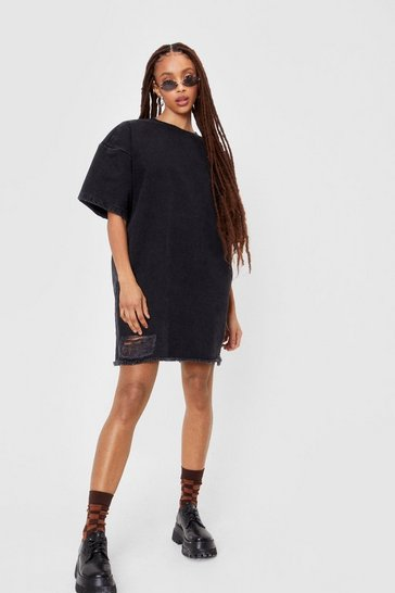 Black Oversized Denim Distressed T-shirt Dress