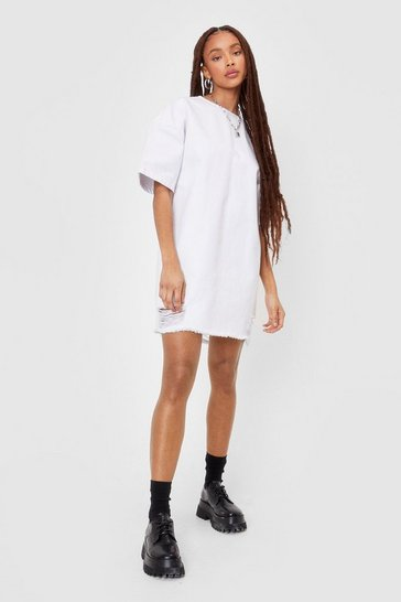 White Oversized Denim Distressed T-shirt Dress