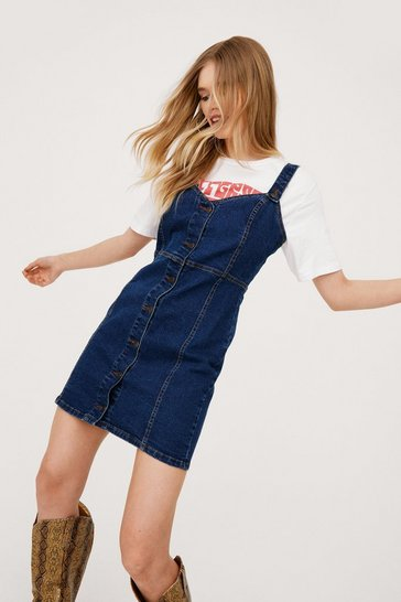 Indigo V Neck Button Down Denim Mini Dress