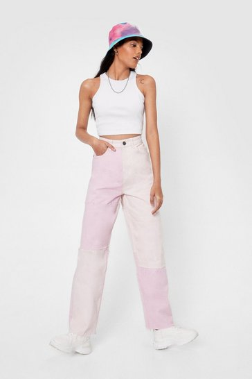 Pink Pastel Colorblock High Waisted Wide Leg Jeans