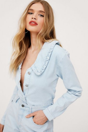 Light blue Ruffle Collar Button Down Denim Shirt