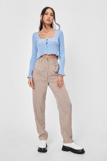 Brown What Twill It Be High-Waisted Gingham Pants