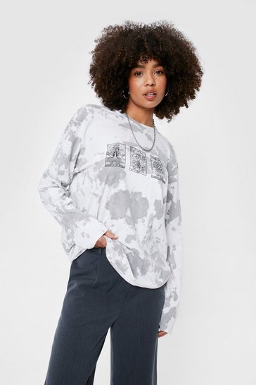 Grey Tarot Cards Tie Dye Long Sleeve Graphic T-Shirt