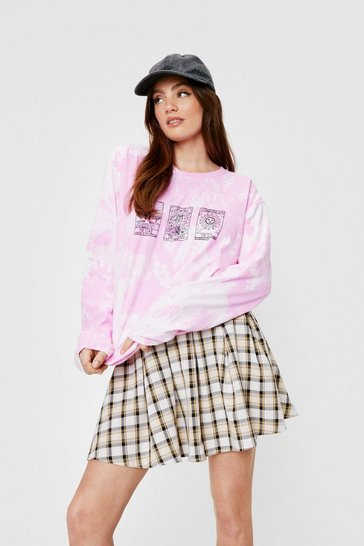 Pink Tarot Cards Tie Dye Long Sleeve Graphic T-Shirt