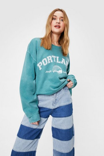 Forest Portland Washed Oversized Graphic Sweatshirt