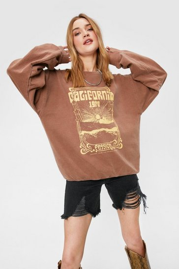 Chocolate California Passion Oversized Graphic Sweatshirt