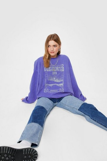 Violet California Passion Oversized Graphic Sweatshirt
