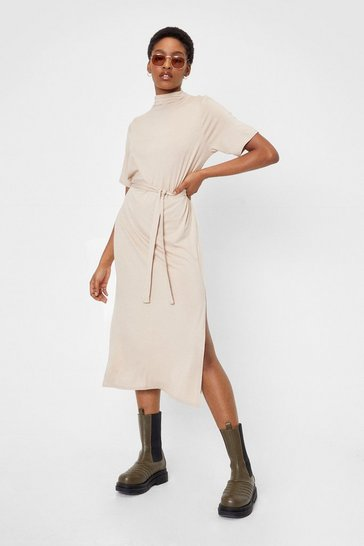 Sand Belted Short Sleeve Midi Dress