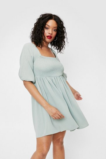 Sage Plus Size Shirred Tie Back Mini Dress