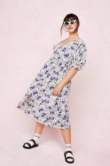 Cream Plus Size Floral Short Puff Sleeve Midi Dress