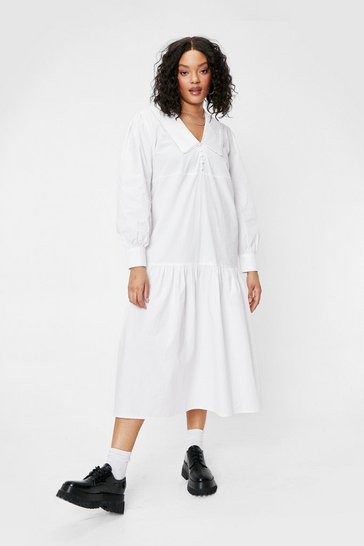 White Plus Size Collar Detail Maxi Dress