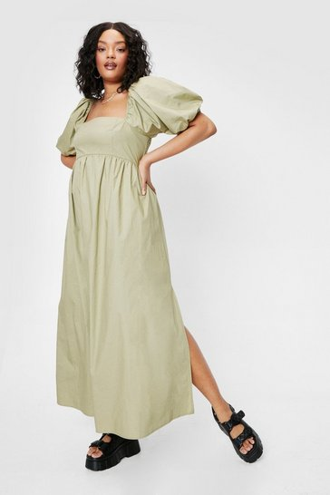 Olive Plus Size Puff Sleeve Maxi Dress