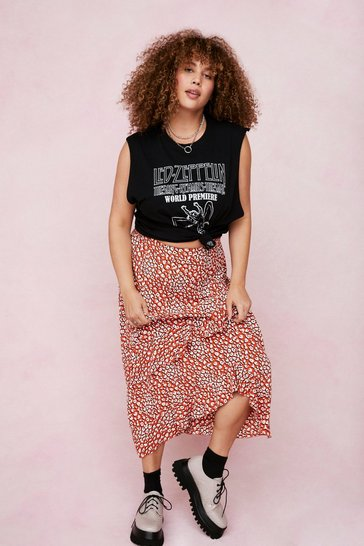 Orange Plus Size Animal Print Ruffle Midi Skirt