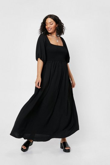 Black Plus Size Shirred Tie Back Maxi Dress