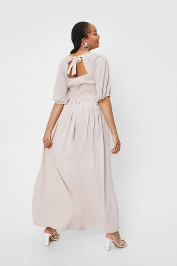 Stone Plus Size Shirred Tie Back Maxi Dress