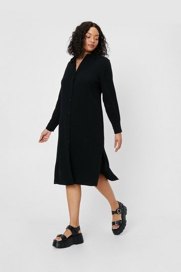 Black Plus Size Linen Look Button Down Midi Dress