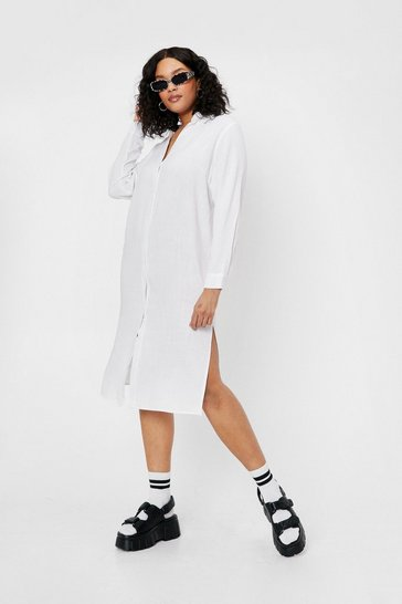 White Plus Size Linen Look Button Down Midi Dress