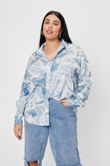 Blue Plus Size Oversized Tie Dye Print Shirt