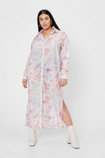 Pink Plus Size Tie Dye Print Maxi Shirt Dress