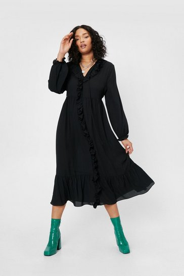 Black Plus Size Ruffle Front Midi Dress