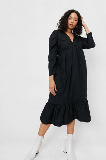 Black Plus Size Gathered Sleeve Cotton Maxi Dress