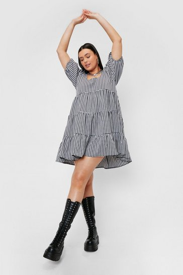 Black Plus Size Gingham Print Tiered Mini Dress