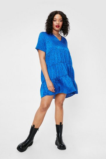 Blue Plus Size Spotty Print V Neck Mini Dress