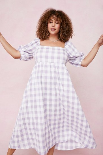 Plus Size Lilac Check Smock Midi Dress