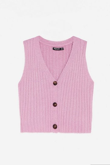 Lilac V Neck Cropped Ribbed Knitted Tank Top