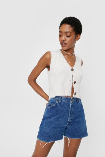 White V Neck Cropped Ribbed Knitted Tank Top