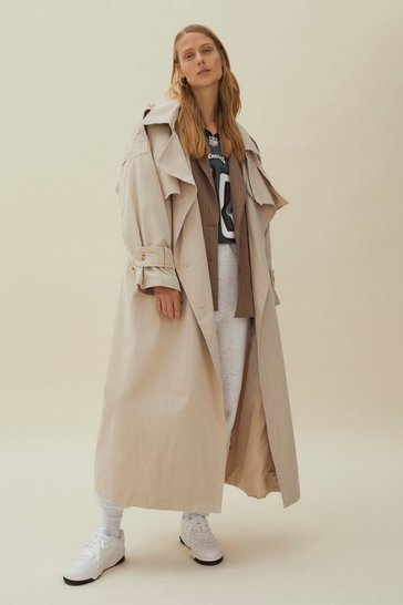 Light stone Hooded Oversized Belted Trench Coat