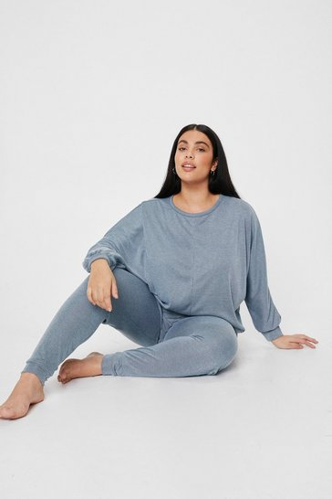 Blue Plus Size Ribbed Top and Joggers Lounge Set