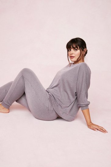 Grande Taille - Ensemble de confort côtelé sweat ample & pantalon assorti, Lilac