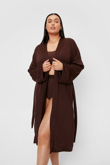 Chocolate Plus Size Ribbed Belted Longline Robe