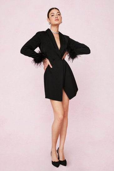 Black Bridal Feather Cuff Blazer Mini Dress
