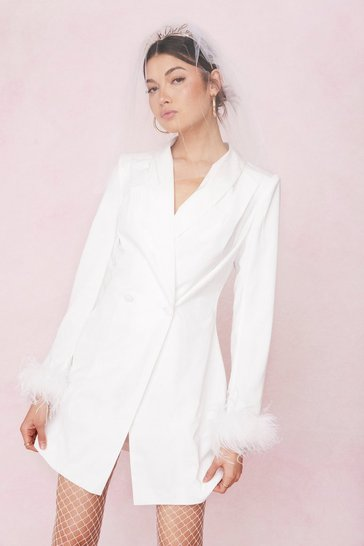 Ivory Bridal Feather Cuff Blazer Mini Dress